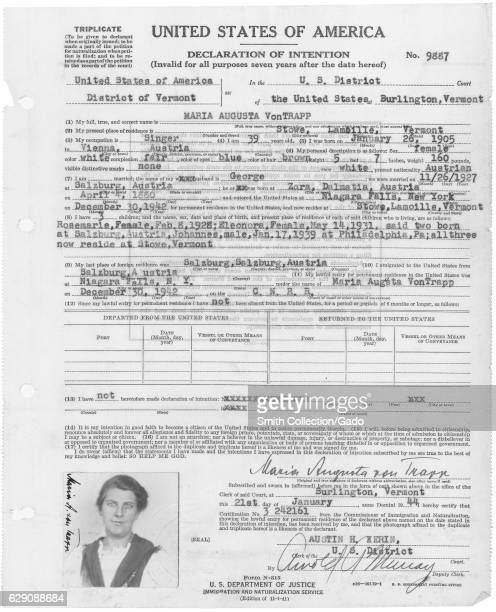 The Declaration of Intention filed by Maria von Trapp of the Trapp Family Singers Vermont January 21 1944 Image courtesy National Archives