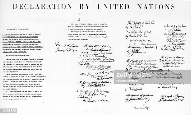 The declaration of the United Nations, signed by 26 nations, and later adhered to by six others, pledging them to the principles of the Atlantic...