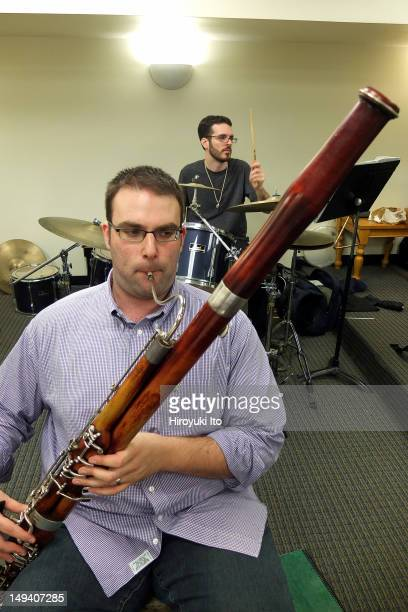 The Declassified rehearsing at Third Street Music Settlement on Monday morning April 23 2012Image shows Seth Baer on bassoon and Jared Soldiviero on...