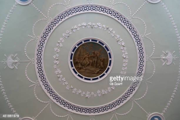 The decorated ceiling in the Entrance Hall of English Heritage's Kenwood House on the northern edge of Hampstead Heath which has undergone a major...