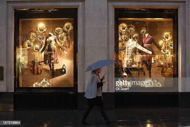 The decorated Christmas shop windows of the Burberry store on Bond Street on November 26, 2012 in London, England. Many prominent retailers in the...