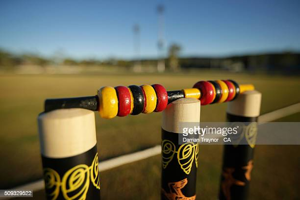 The decorated stumps representing Tasmania are seen during day 3 the National Indigenous Cricket Championships on February 10 2016 in Alice Springs...