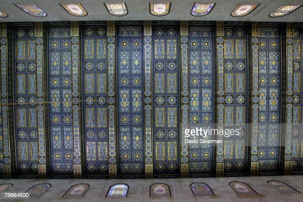 The decorated wooden ceiling and upper windows of the alAqsa mosque on July 18 2007 on the Temple Mount known as AlHaram alSharif to Arabs and...