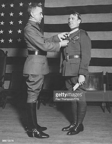 The decoration of US war heroes takes place in New York Town Hall under the auspices of the Soldiers' and Sailors' Club of New York 6th April 1923...