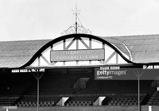 The decorative gable at the centre of the Main Stand roof designed by Scottish architect Archibald Leitch August 1 1960 in Liverpool England