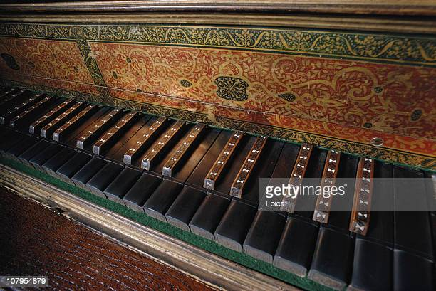 The decorative keyboard of a spinet or harpsichord known as Elizabeth's Virginals housed at Hatfield House Hertfordshire circa 1968