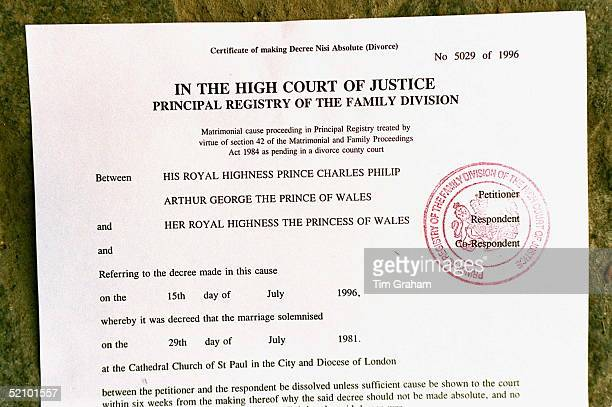 The Decree Absolute Ending The Marriage Of The Prince And Princess Of Wales On 28 August 1996