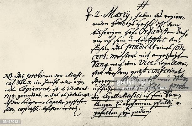The Decree from March 2 1714 which appointed Johann Sebastian Bach as the Weimar court Konzertmeister Germany 18th century Weimar Stadtarchiv Weimar