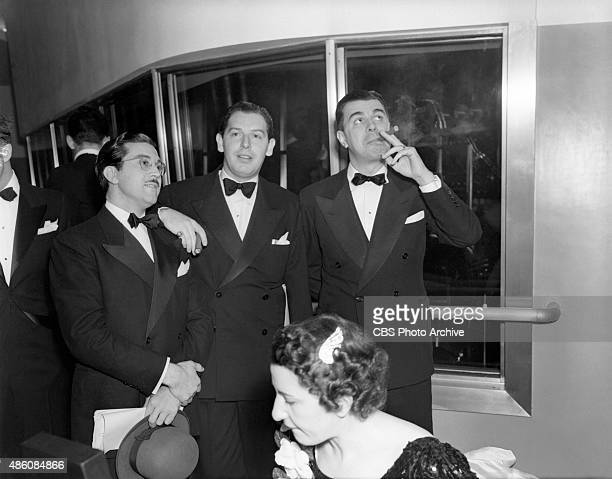 The dedication ceremony of CBSKNX Columbia Square radio studios Hollywood CA on April 30 1938 Pictured Mliton Berle with Ken Murray and Tony Oswald...