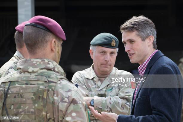 The Defence Secretary Gavin Williamson talks with General Sir Nicholas Carter UK's Chief of the Defence Staff at a live demonstration at the Joint...