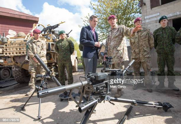 The Defence Secretary Gavin Williamson talks with members of the Parachute Regiment at a live demonstration at the Joint Expeditionary Force Live...