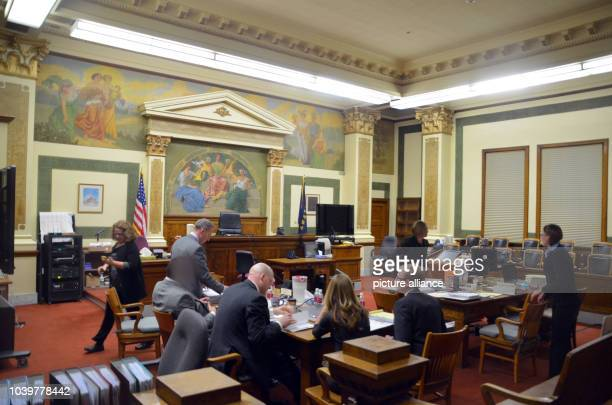 The defendant sits with his attorneys in the courtroom prior to the start of the Diren murder trial in Missoula USA 4 December 2014 17year old high...