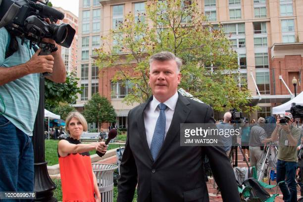 The defense attorney for former Trump campaign manager Paul Manafort Kevin Downing walks to the US Courthouse in Alexandria Virginia August 21 as...