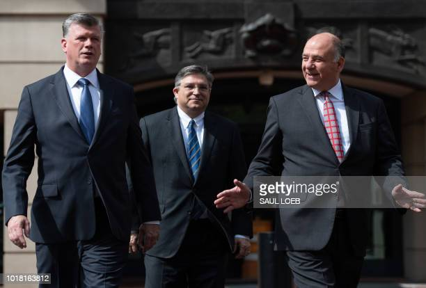 The defense attorneys for former Trump campaign manager Paul Manafort including lead attorney Kevin Downing Richard Westling and Thomas Zehnle leave...