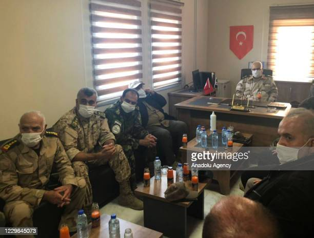 The Defense Ministry delegation led by Syrian Interim Government's Defense Minister Salim Idris hold a meeting during their visit to Tal Abyad Syria...