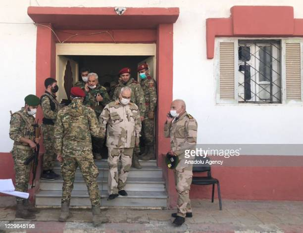 The Defense Ministry delegation led by Syrian Interim Government's Defense Minister Salim Idris visit Tal Abyad Syria on November 16 2020 The town in...