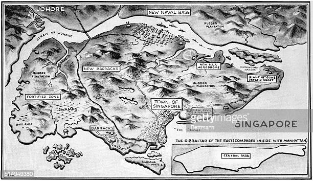 The defenses of Singapore the Gibraltar of the East are naturally military secrets but the map of the British island fortress gives some idea of the...