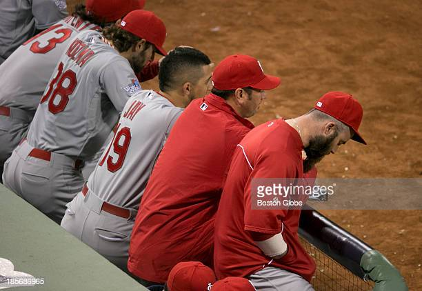 The dejected Cardinals dugout at the end of the ninth inning of Game One of the 2013 Major League Baseball World Series between the St Louis...