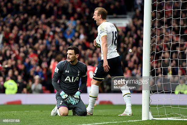 The dejected goalkeeper Hugo Lloris and Harry Kane of Spurs react after conceding a second goal during the Barclays Premier League match between...