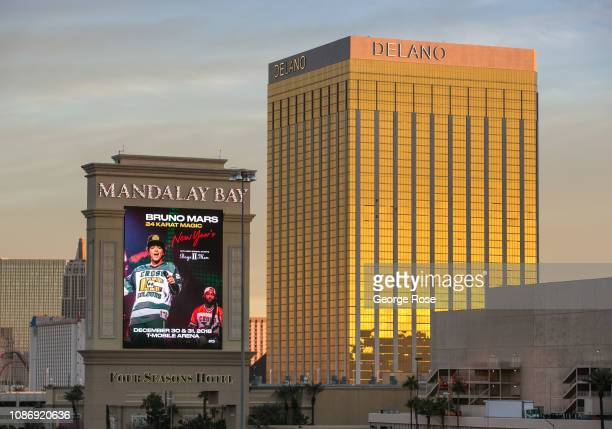 The Delano Hotel and Mandalay Bay Hotel Casino are viewed on December 19 2018 in Las Vegas Nevada During the Christmas and New Year holidays millions...