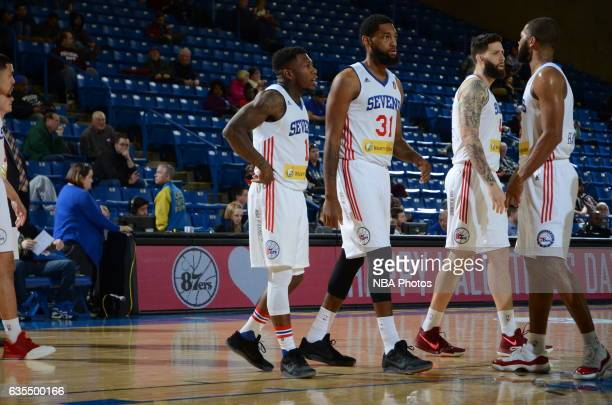 The Delaware 87ers huddle up during the game against the Maine Red Claws on February 14 2017 at the Bob Carpenter Center in Newark Delaware NOTE TO...