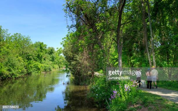 The Delaware River trail or Delaware and Raritan State Canal Park near Lambertville Hunterdon County New Jersey USA