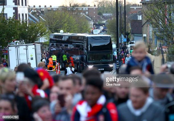 The delayed Arsenal team coach arrives prior to the Premier League match between Crystal Palace and Arsenal at Selhurst Park on April 10 2017 in...