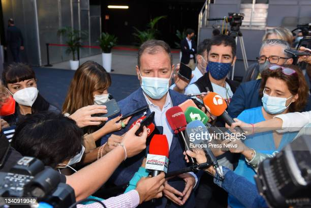 The Delegate for Urban Development, Mariano Fuentes, responds to the media during the signing ceremony for the renewal of the agreement to hold the...