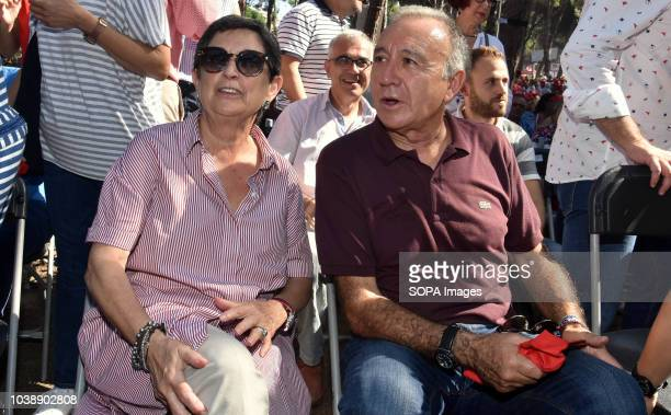 The Delegate of the Government of Spain in Catalonia Teresa Cunillera with the mayor of the city of San Juan Despi seen sited during the Feast of the...