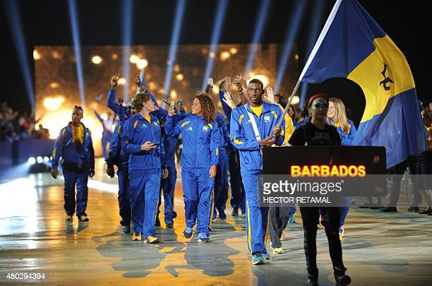 The delegation from Barbados arrive during the opening ceremony for the 2015 Pan American Games at the Rogers Centre in Toronto Ontario on July 10...
