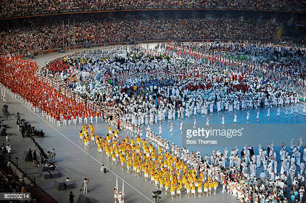 The delegation from China enter the stadium during the Opening Ceremony for the Beijing 2008 Olympic Games at the National Stadium on August 8, 2008...