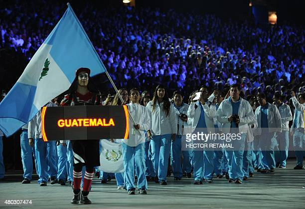 The delegation from Guatemala arrives during the opening ceremony for the 2015 Pan American Games at the Rogers Centre in Toronto Ontario on July 10...
