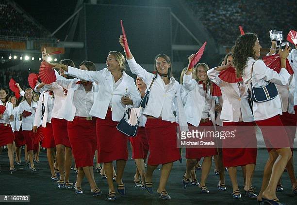 The delegation from Spain walk during the parade of nations, part of the opening ceremonies for the Athens 2004 Summer Olympic Games on August 13,...