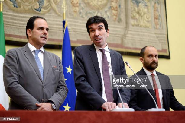 The delegation of the Democratic Party with Andrea Marcucci Maurizio Martina and Matteo Orfini meets journalists at the end of consultations with the...