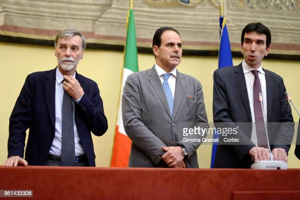 The delegation of the Democratic Party with Graziano Delrio Andrea Marcucci Maurizio Martina meets journalists at the end of consultations with the...
