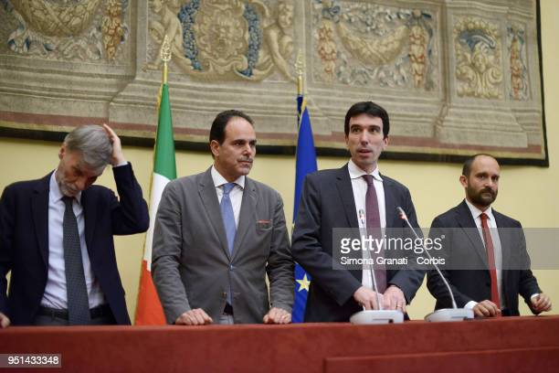 The delegation of the Democratic Party with Graziano Delrio Andrea Marcucci Maurizio Martina and Matteo Orfini meets journalists at the end of...
