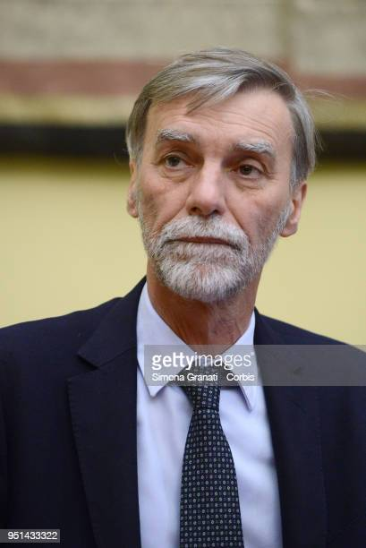 The delegation of the Democratic Party with Graziano Delrio meets journalists at the end of consultations with the President of the Chamber of...