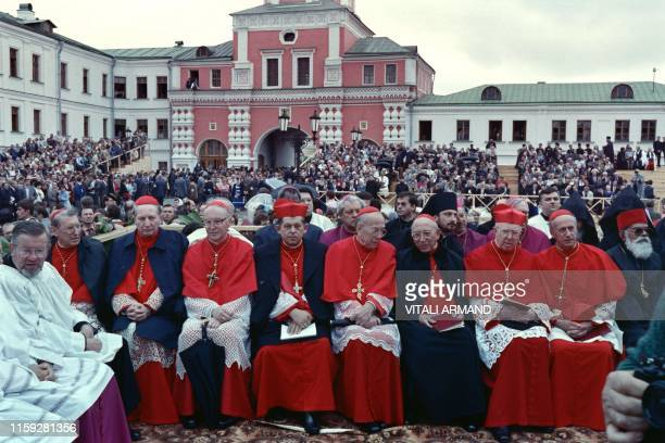The delegation of the Roman Catholic Church at millenium of the Russian Orthodox Church attends the prayer at Danilov Monastery on June 12 1988 in...