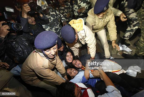 The Delhi Police detain the protestors of Nirbhaya who were protesting against the release of the juvenile convict in the December 16 gangrape case...