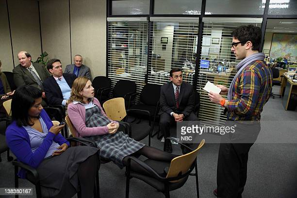 THE OFFICE The Delivery Part 1 Episode 618 Pictured Mindy Kaling as Kelly Kapoor Jenna Fischer as Pam Halpert Steve Carell as Michael Scott B J Novak...