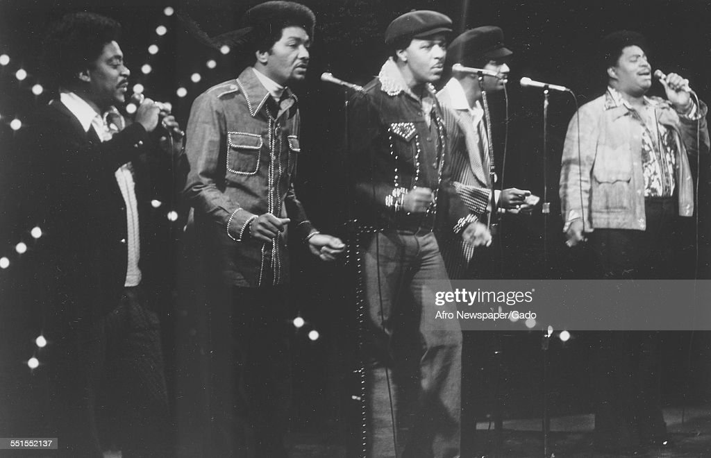 The Dells, an American R&B vocal group, five men performing on ...