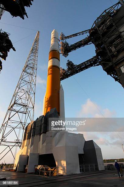 The Delta IV rocket that will launch the GOES-O satellite into orbit.