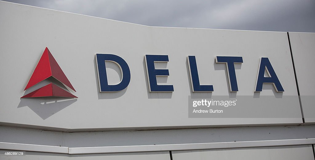 The Delta logo is seen at Kennedy Airport on April 23, 2014 in the Queens borough of New York City. Delta released higher-than-expected quarterly earnings today, causing its stock to rise 5%.