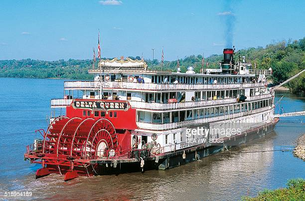 The Delta Queen paddle wheel travelling on the Mississippi river United States of America