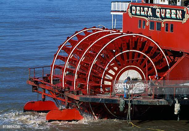 The Delta Queen paddle wheel travelling on the Mississippi river United States of America Detail of the wheel