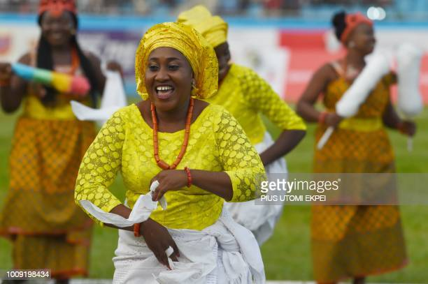 The Delta State cultural group dances during the opening of the 21st African Senior Athletics Championships at the Stephen Keshi Stadium in Asaba...