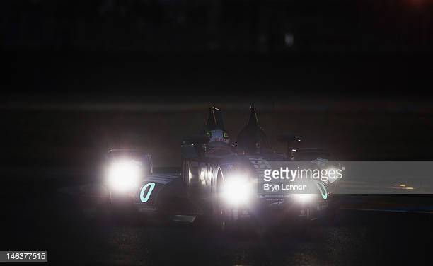 The Delta Wing Nissan of Marino Franchitti Michael Krumm and Satoshi Motoyama in action during qualifying for the 24heures du Mans on June 14 2012 in...