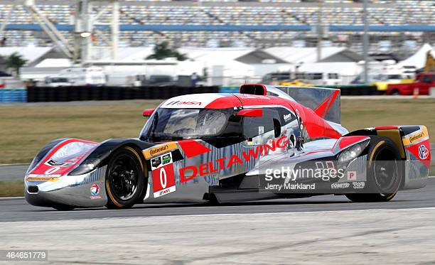 The DeltaWing Racing Cars DeltaWing DWC13 driven by Andy Meyrick Katherine Legge Alexander Rossi and Gabby Chaves races during practice for the Rolex...