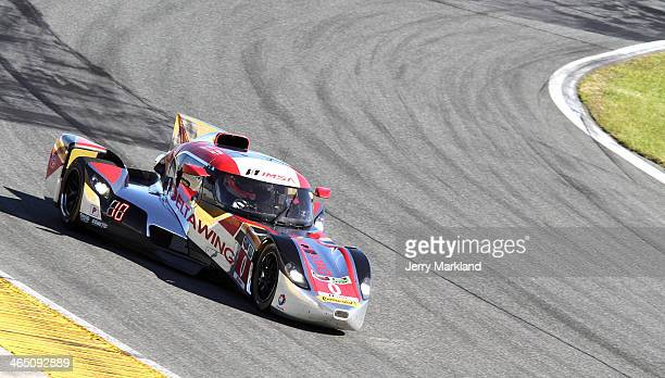 The DeltaWing Racing Cars driven by Andy Meyrick Katherine Legge Alexander Rossi and Gabby Chaves races during the ROLEX 24 at Daytona International...