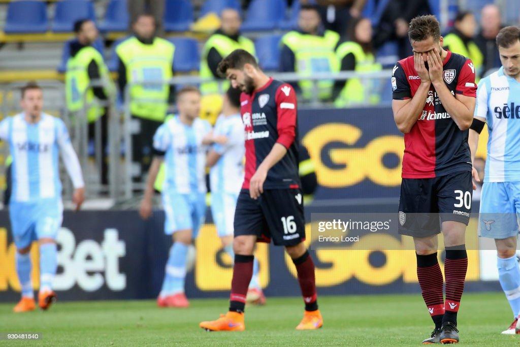 the delusion of Leonardo Pavoletti of Cagliari after the goal's Ciro Immobile of 2-2 during the serie A match between Cagliari Calcio and SS Lazio at Stadio Sant'Elia on March 11, 2018 in Cagliari, Italy.